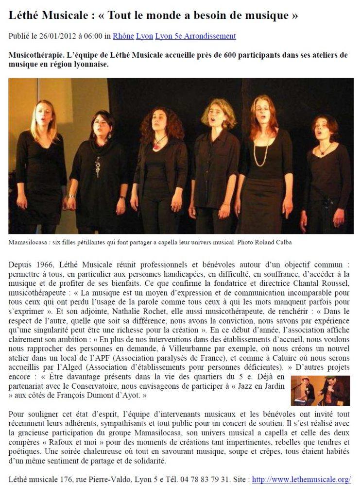 Article paru dans Le Progrès le 26 janvier 2012. Les Mamasilocasa et Rafoux et moi chantent pour Léthé Musicale