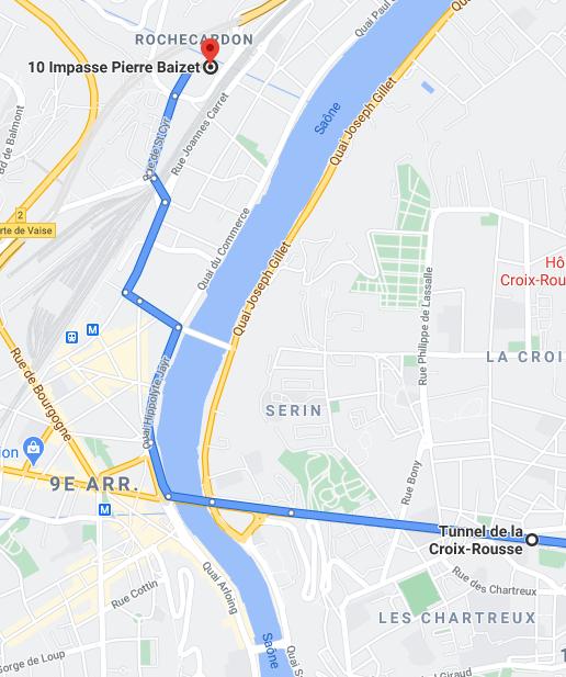 Plan pour venir jusqu'au locaux depuis le centre de Lyon en voiture