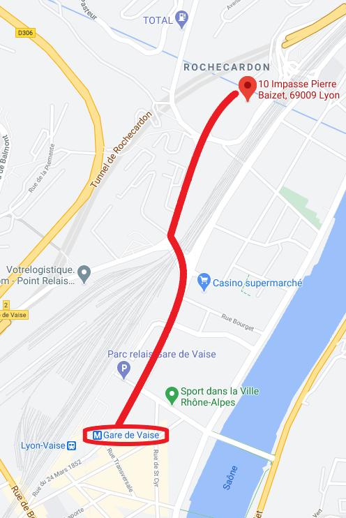 Plan pour venir jusqu'au locaux depuis la gare de Vaise à pieds