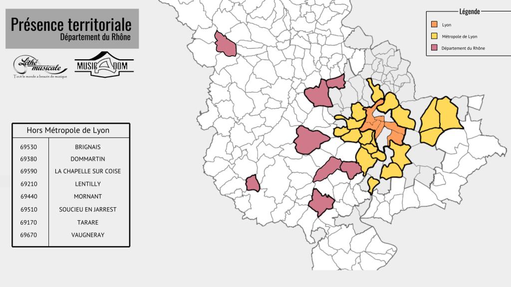 Présence de l'association sur le département du Rhône : Brignais, Dommartin, La Chapelle sur Coise, Lentilly, Mornant, Soucieu en Jarrest, Tarare, Vaugneray