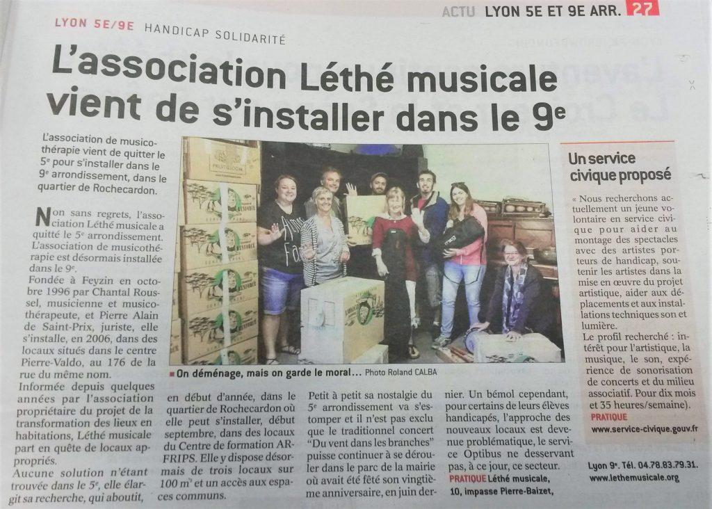 Article paru dans le progrès en 2017 : Léthé musicale vient de s'installer dans le 9ème arrondissement.